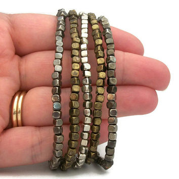 Vintage Stacking Bracelet Set - Set of 5 Five Small Metallic Metal Bead Stretch Bracelets - Mixed Metals Elastic Bracelets