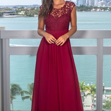 Burgundy Crochet Maxi Dress with Tulle Back