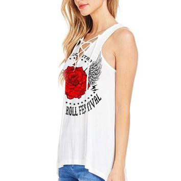 Women's V-Neckline Lace-Up Design Tank Top with Rock n Roll Festival Print