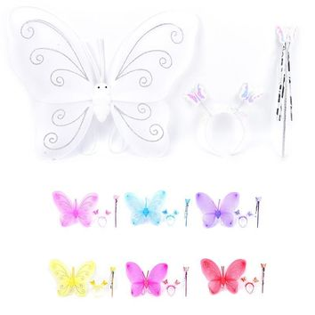 JETTING 3Pcs Girl Kids Butterfly Wing Wand Headband Fairy Xmas Costume Set