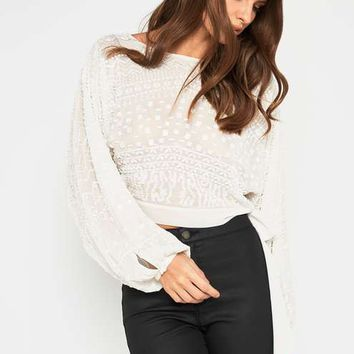 PREMIUM Cream Embellished Crop Top