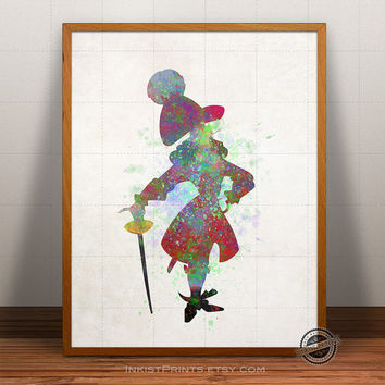 Captain Hook Print Watercolor, Peter Pan Poster, Disney Art, Pirate Illustration, Giclee Wall, Kid Artwork, Comic, Fine, Home Decor