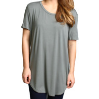 Olive Piko Short Sleeve Curved Hem Top