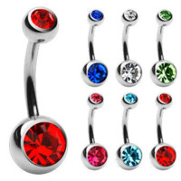 Body Jewelry Crystal Gem Belly Barbell Button Bar Ring