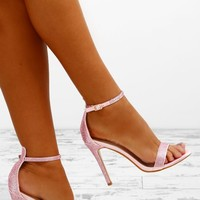 Party Girls Pink Diamante Barely There Heels