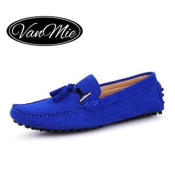 2017 Spring Suede Leather Men Tassel Loafers Moccasins Men Casual Driving Shoes Male Flat heel Boat Shoes