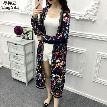 TingYiLi Fringe Kimono Cardigan Women Long Sleeve Summer Cardigan Ethnic Boho Beach Long Cardigan Femme