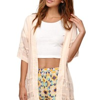 LA Hearts Lace Inset Kimono - Womens Shirts - White - One