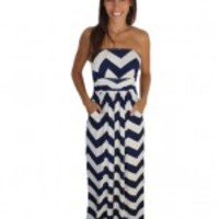 Navy Chevron Jersey Maxi Dress - Julie
