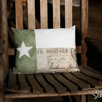 "Texas Flag 12"" x 16"" Pillow Cover (Insert Not Included) for Lounge / Bedroom / Office in Green / White / Brown / Script"