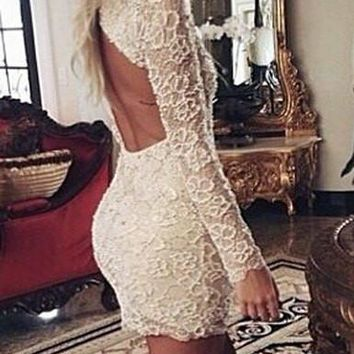 White Long Sleeve Cut Out Slit Dress
