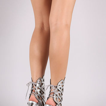 Mirror Metallic Mesh Inset Caged Back Lace-Up Heel