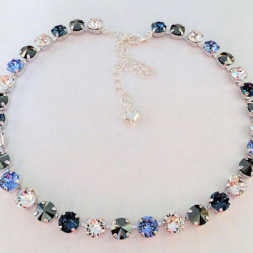 Tranquil, Swarovski Necklace, Bridal,Blue,Great Gift,Crystal,8MM,Denim,Light Sapphire,Crystal,Jet Hematite,DKSJewelrydesigns