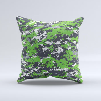 Lime Green and White Digital Camouflage  Ink-Fuzed Decorative Throw Pillow