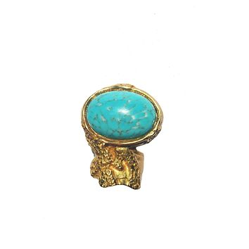 Saint Laurent YSL Large Arty Ovale Turquoise Gold Ring Size: 6 196994