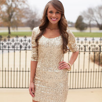 Sparkle In The Night - gold bodycon dress