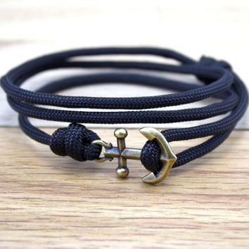 Anchor Paracord Nautical Bracelet in Black