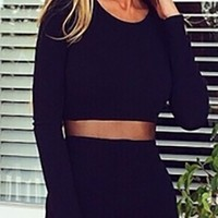 Black Scoop Neck Long Sleeve Cut Out Waist Bandage Bodycon Mini Dress