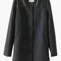 Black Long Sleeve with Leather Patch Buttoned Long Coat