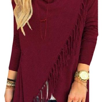 Zimaes Womens Baggy Breathable Irregular Western Macrame Long Shirt