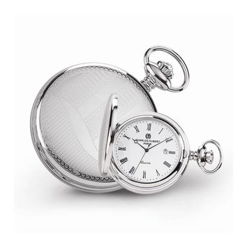 Stainless Steel Wave Design Pocket Watch - Engravable Personalized Gift Item