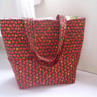 Large tote bag, red black apple, beach bag cotton tote bag, school bag, beach tote bag, pocket tote bag, Japanese fabric