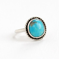 Vintage Sterling Silver Turquoise Blue Stone Ring- Size 7.5 Retro Southwestern Native American Style Braided Jewelry