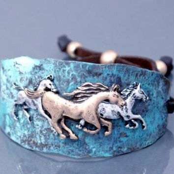 Plated w/Faux Leather & Hammered Patina Two-Tone Horse Bracelet