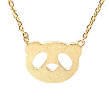 Handcrafted Brushed Metal Panda Head Necklace