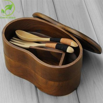 Hot Selling Luxury Portable Double Layer Wooden Tableware Sushi Bento Box Wood Food Container Kitchen Bowl Free Shipping