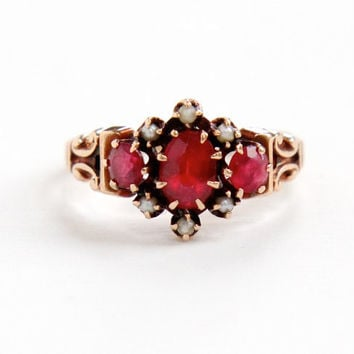 Antique Victorian 10k Rose Gold Garnet Doublet & Seed Pearl Ring - Vintage Late 1800s Red Gemstone Fine Cluster Jewelry