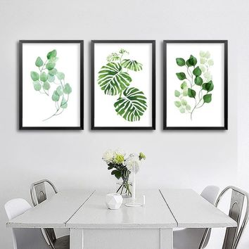 Minimalist Natural Leaf Canvas Paintings Nordic Green Wall Art Pictures Posters Prints For Kitchen Living Room Home Office Decor