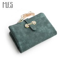 MFS 2016 New Fashion Women Wallets Drawstring Nubuck Leather Zipper Wallet Women's Short Design Purse Retro Tassels Clutch