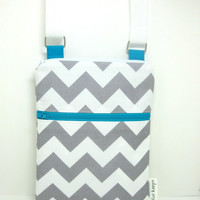 Sling purse cross body bag grey chevron blue by forkeepsamanda