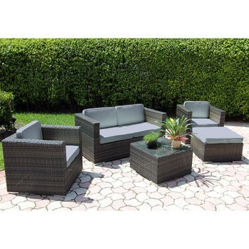 Hialeah 5 Piece Patio Loveseat Set Espresso Blue Cushions