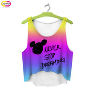 multicolor T-Shirts 3D Print women tank tops & camis printed sleeveless vest girls summer short crop tops irregular