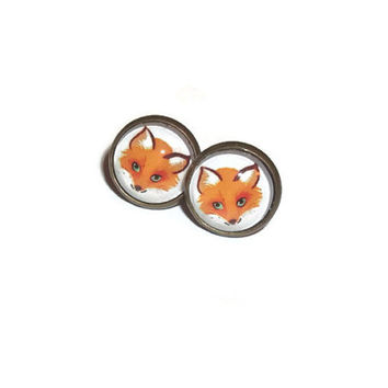 Fox Stud Earrings, Cute Animal, Red Fox Woodland, Kawaii Bronze Posts, Glass Cabochons