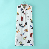 Women's Fashion Cartoons Print Sleeveless Dress Blouse [4914966788]