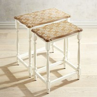 Pattern Top Wood Nesting Tables