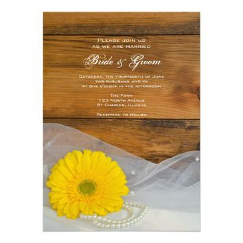 Yellow Daisy and Pearls Country Wedding Invitation from Zazzle.com