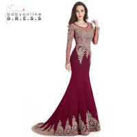 Robe De Soiree Longue Mermaid Burgundy Cheap Evening Dresses 2017 Beaded Apppliques Long Sleeves Prom Dress Party Gown
