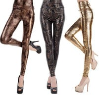 Valentine Sexy Summer Leggings for Woman Leopard Print Workout Shiny Skinny Pants of High Waist Leggings