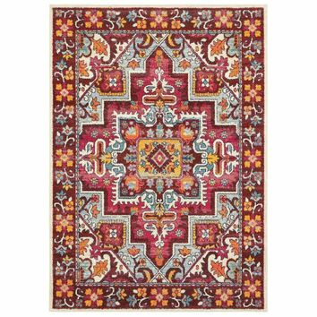 Bohemian Red Pink Oriental Medallion Traditional Rug