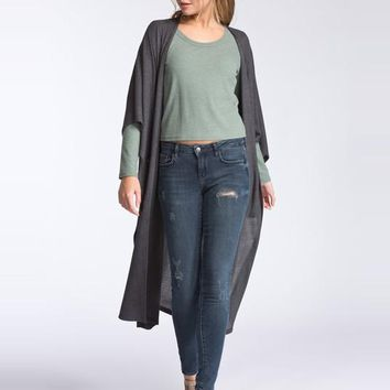 Long Duster Cardigan Sweater - Charcoal