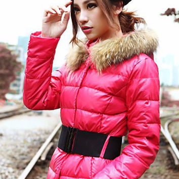 Fur Hood Long Sleeve Leather Coat
