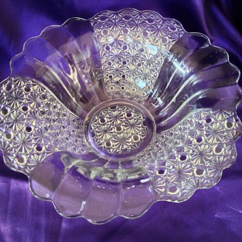 Button and Daisy Console Bowl, Centerpiece, Clear Crystal Fluted Trumpet Design, Ribbed, Patterned Pressed Glass Vintage, 1940s , 1950s