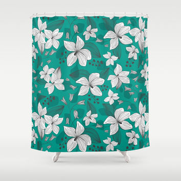 Avery Aqua Shower Curtain by heatherduttonhangtightstudio