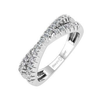 IGI CERTIFIED | 10k Gold French-cut Criss-cross Wedding/anniversary Diamond 0.28 Carat Ring Band (White, Yellow, Rose)