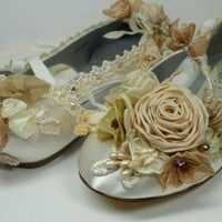 Vintage Shabby Ballet Flats With Tea dyed Roses, Bride's Wedding Shoes, Wedding Flats, Fairytale Princess Shoes, Garden Wedding Shoes
