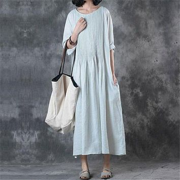BUYKUD 2018 Summer Women Cotton Linen Loose Long Blue Dress Round Neck Three Quarter Sleeve Casual Folded Dresses With Pockets